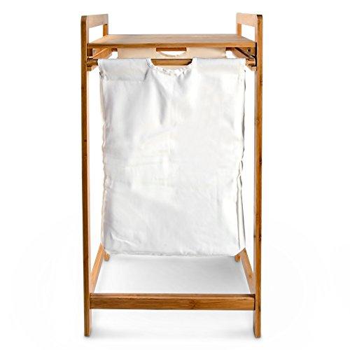 Wäschesammler mit Bambusgestell und Stoffbeutel - 3