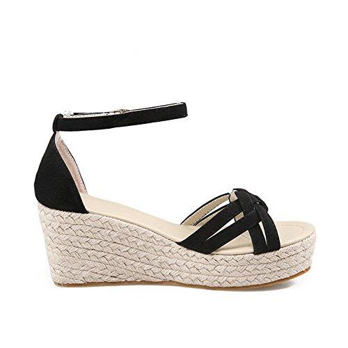 VogueZone009 Donna Tacco Alto Puro Punta Aperta Plastica Fibbia Heeled-Sandals Nero