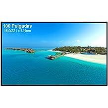 """Excelvan - Pantalla para Proyector 100"""", Pantalla de Proyección Plegable 16:9, 221 x 124 cm, (Color Blanco)"""