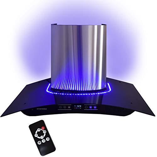 Campana 90cm con LED azules, pantalla táctil y mando a distancia