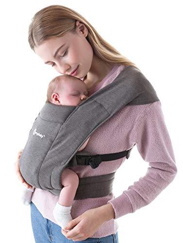Ergobaby Babytrage für Neugeborene ab Geburt Extra Weich, Embrace Bauchtrage Baby-Tragetasche Ergonomisch (Heather Grey)