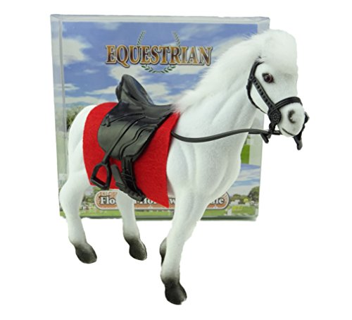 41eYdsHW%2BmL BEST BUY UK #114cm Equestrian Flocked Horse Toy with Saddle   White price Reviews uk