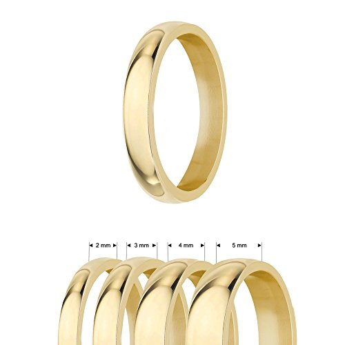 Ring - Edelstahl - 4 Breiten - Glänzend - Gold [44.] - Breite: 5mm - Ringgröße: 56