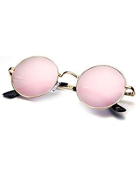 Menton Ezil Estilo John Lennon Gafas de Sol Redondo Pegueño Círculo Polarizadas Vintage Metálico de Hipis Montura...