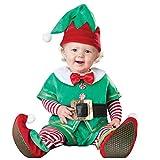 DIASTR 6 Stück Baby Weihnachten Kostüm Xmas Elf Outfit Weihnachtself Fancy Dress Fasching Kostüm Geburtstag Geschenke (Tops + Hose + Hut + Gürtel + Schuhe+ Socken)