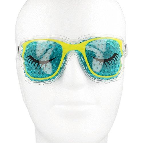 Kühlbrille für die Augen mit farbigen Gel-Perlen in coolem Design mit Befestigungsband┇Migränemaske Kühlmaske Augenkühlung Wellnessbrille lustige Kompressen Entspannungsbrille Augenkühlmaske Kühlpads Gelbrille Kühlkompresse Augenkompresse Kältetherapie gegen Augenringe geschwollene Augen Kopfschmerzen Migräne Fieber und Schmerzlinderung mit Perlen Wasserperlen Aquaperlen Pearl Gel Beads┇Kühlende Augenmaske - Hot Cold Pack Head Eyes Face Mask - Medipuls (Grün - beide Augen zu)