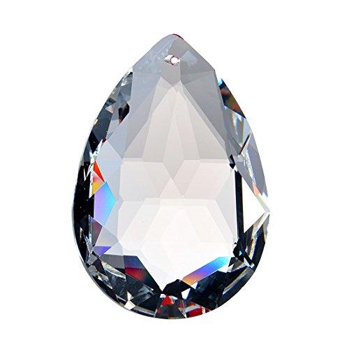 H & D 50 mm Glaskristall klar facettiert Kronleuchter Prismen einhaengerpaar Tropfen Lampe Kerzenhaltern Teile, Kristall, cut face water drop shape, 10 Stück