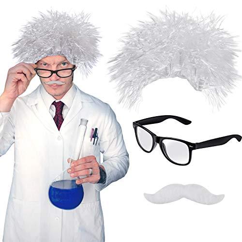 3 Stücke Wissenschaftler Perücke Kostüm Enthält Weiß Professor Perücke Gefälschten Weiß Schnurrbart Nerd Brillen für Halloween Kostüm Cosplay Party - Nerd Halloween Kostüm