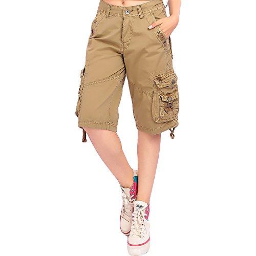 crazyplayer Damen Sportliche Shorts Kurze Hose Bermudas aus Reine Baumwolle mit 6 Tasche in Armee Look für Outdoor Wandern Arbeit