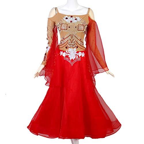 Tanz End High Kostüm - Herrlich Gesellschaftstanz Professionel Wettbewerb Tanzkleider Für Frauen Tango-Walzer Bühne Performance-Kostüm Mesh-Langarm mit Kristall/Strass High-End-Custom,Rot,Customize