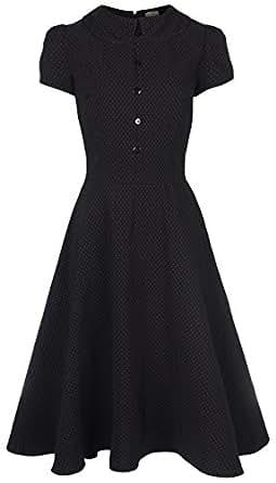 Lindy Bop 'Rhonda' Vintage Victorian Style Black Polka Dot Peter Pan Collar Tea Dress (24, Black)