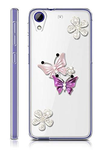 Sunrive Für HTC Desire 650/628 / 626 / 626G Hülle Silikon, Glitzer Diamant Strass Transparent Handyhülle Schutzhülle 3D Etui handycase Case (Schmetterling 2) MEHRWEG