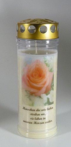 Grablicht-Kerze 20/7 cm - Rose A - 3754 - Menschen... - 7 Tage Brenndauer – (Ewiglicht-Ölkerze)-Grabkerze mit Motiv und Spruch - Trauerkerze mit Foto und Spruch