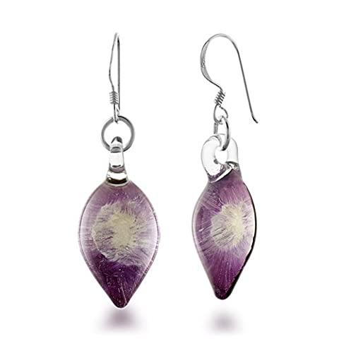 925 Sterling Silver Hand Blown Murano Glass Purple Orchid Flower