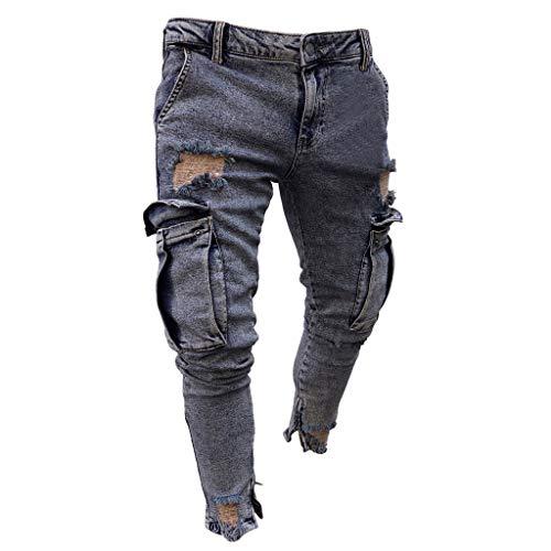 Dasongff Hose Herren Jeans Groß Größe Freizeithosen Männer Hosen Slim Fit Distressed Jeans-Hose Trekkinghose Casual Trainingshose Sporthosen Vintage Trousers - Cargo Stil, Jeans