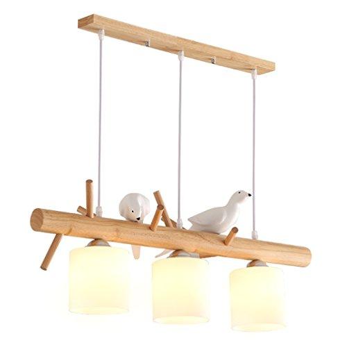 OOFAY LIGHT® Kreative Niedliche Harz Vogel Pendelleuchte für E27 Leuchtmittel Modernen Hängelampe Hängeleuchte Esszimmer Küchen Deckenleuchte Holzlampe Glas Schatten Ø80cm [Energieklasse A++]