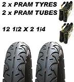 2 x Kinderwagen Reifen & 2x Schläuche 12 1/2 X 2 1/4 Slick OBaby Zezu Emmaljunga Joolz Day
