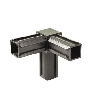 GAH-Alberts 426347 XD-Rohrverbinder - 90° und einem weiteren rechtwinkeligen Abgang, Kunststoff, schwarz, 20 x 20 x 1,5 mm / 10 Stück