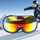H107 Unisex Dual Layers Anti-Fog Windprooof UV Protection Spherical Goggles with Adjustable Widened Strap(Black)