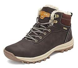 Pastaza Gefüttert Winterstiefel Damen Wasserdicht Wanderschuhe Herren Warme Winterschuhe Männer rutschfest Outdoor Leder Boots Braun, 42