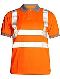 Fast Fashion - Hi Viz Travail Porter T Shirt Visability De Polo De Sûreté De Col Gris