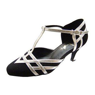 Silence @ Chaussures de danse pour femme moderne/piste de danse en similicuir/velours Stiletto Talon Noir medium