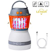 [Upgraded] Mosquito Zapper Outdoor Lantern LETOUR 4 Modes Dimmable Portable Light Quiet Efficient Mosquito Killer Washable Waterproof IP67 USB Rechargeable Mosquito Light