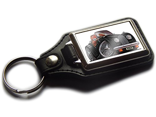 Morgan v8Classic 1974Sport Auto Premium Koolart Leder und Chrom Schlüsselanhänger wählen Sie eine Farbe., schwarz -
