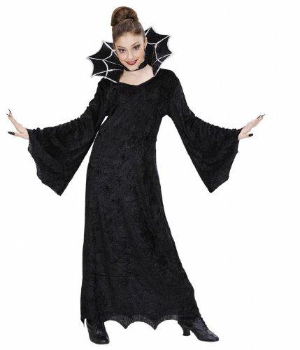 Widmann 41117 - Kinderkostüm Hexe, Samtkleid mit groߟem Stehkragen und Halsband, Größe (Kostüme Mädchen Spiderella')