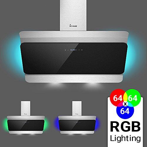 KKT KOLBE DUALE90RGB Wand-Dunstabzugshaube / 90 cm kopffrei / Edelstahl-Schwarz / Touch Display / Timer / Nachlauf / LED-Beleuchtung / leichte Montage