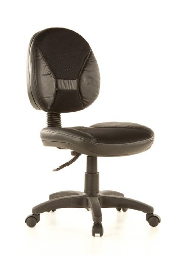 hjh OFFICE 642050 chaise de bureau, chaise bureau à roulettes ERGO DUAL noir, dossier réglable en hauteur, idéal pour le coin bureau à la maison