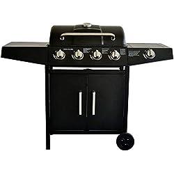 Barbecue à gaz 4 brûleurs latéraux Grande Surface et Grande capacité de Rangement en Acier Inoxydable