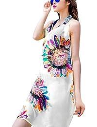 5898bc2aa5b66 bigcity Summer Beach Sunflower Print Sexy Women Chiffon Wrap Bikini Cover  Up Tunic Dress