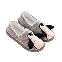 GDXH New Women Home Slippers Indoor Soft-soled Cotton Slippers Cartoon Penguin Comfortable Floor Tow Shoes Fashion Slippers (Color : Gray, Size : 39)