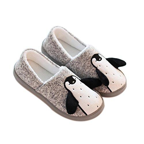 GDXH Neu Frauen Hause Hausschuhe Indoor Soft-Soled Baumwolle Hausschuhe Cartoon Pinguin Komfortable Boden Schlepptau Schuhe Mode Hausschuhe (Farbe : Grau, Größe : 35)