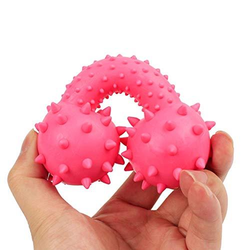 Neue Ankunfts-Hundeknochen geformt Chewing Ausbildung Spielzeug Bunte punktierte Hantel geformt Squeeze quietschende Faux Knochen Haustier Hund Spielzeug BS (Farbe: Random) -