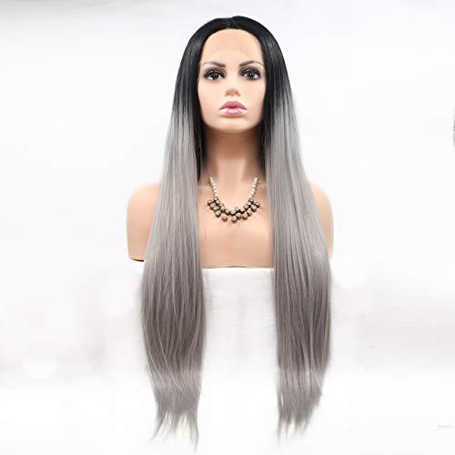 Glamour Kostüm Perücke - WQWIG Klassische Gerade Lange Perücke für Damen Hohe Qualität Spitzefrontseite Synthetisches Haar Natürlich Aussehende Cosplay Perücke Kostüm