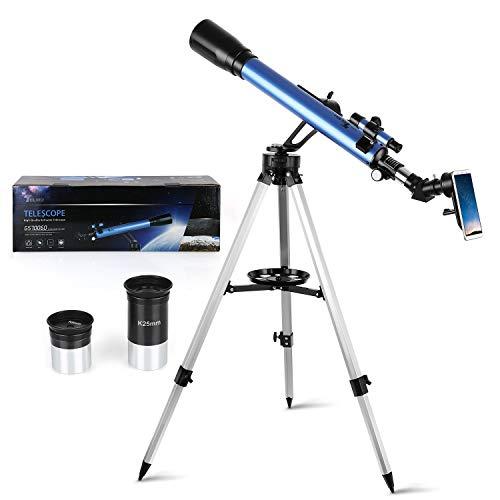 TELMU Telescopio Astronomico GS700/60, Ingrandimento (117x e 28x), Oculare Kellner (K6mm e K25mm), Regalo per Bambini, Treppiede Regolabile, Osservazione Della Luna, Ammasso Stellare, Principiante