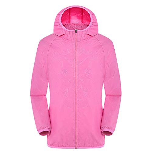 BHYDRY Herren Damen Freizeitjacken Winddicht Ultraleicht Regenfest Windbreaker Top(Medium,Rosa