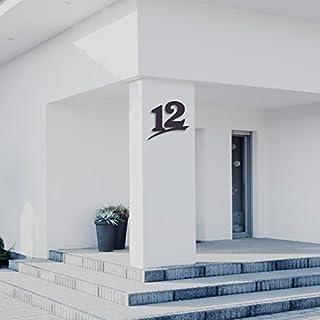 Hausnummer 12 ( 20cm Ziffernhöhe ) in Anthrazit-grau, schwarz oder weiß, 6mm stark aus Acrylglas - Original ALEZZIO Design - Rostfrei, UV-beständig und abwaschbar, Anthrazit wie Pulverbeschichtet RAL 7016, mit Montageschablone