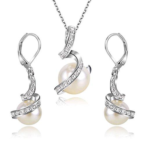 ate Elegant CZ Cream Künstliche Perlen Spiral Filigran Pendant Halskette Dangle Ohrringe Set ()