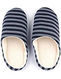 Invierno Cálido, Suave, Felpa, Interior, Zapatillas de Piso para el hogar, Mujeres/Hombres, Zapatos, Tela a Rayas,…