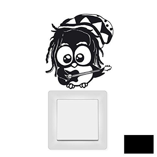 Wandtattoo Wandaufkleber Lichtschaltertattoo Bob Marley Eule M1668 - ausgewählte Farbe: *Schwarz* - ausgewählte Größe: *M - 12cm breit x 12cm hoch*