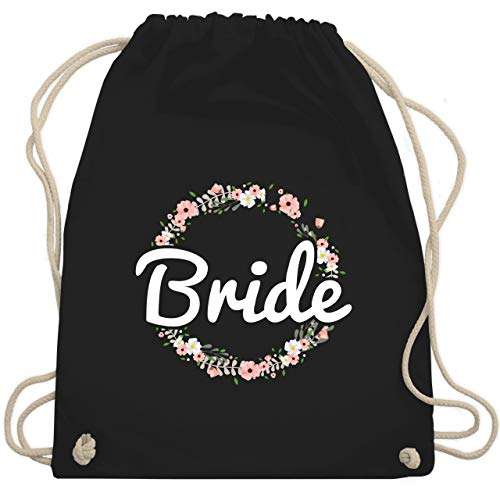 JGA Junggesellinnenabschied - Bride Blumenkranz - Unisize - Schwarz - WM110 - Turnbeutel & Gym (Stagette Kostüm)