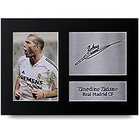 Zinedine Zidane Firmado A4 impreso Real Madrid impresión fotográfica foto pantalla de presentación ...