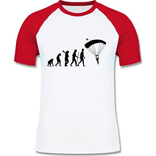 Evolution - Fallschirmspringen Evolution - zweifarbiges Baseballshirt für Männer Weiß/Rot