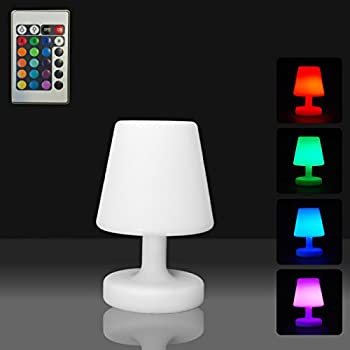 mervy petite lampe de table led 25cm sans fil rechargeable t l commande 16 couleurs. Black Bedroom Furniture Sets. Home Design Ideas