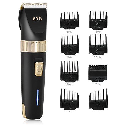 Haarschneider KYG Elektrische Haarschneidemaschine kabellos Profi Haartrimmerset Bartschneider mit 8 Kämmen für Salon oder zu Hause Schwarz
