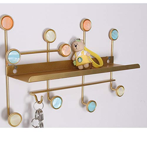 Shell Free Punching Coat Rack, Wall-Mounted Perforated Clothes Hook, Household Multi-Color Optional 12 Hook Coat Rack Gold (35x10x23) cm