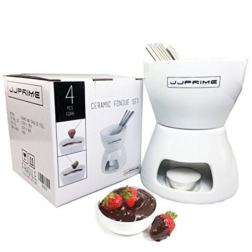 JJOnlineStore JJPRIME - Juego de Fondue de Chocolate o Queso de cerámica con Tenedores de Acero Inoxidable para Cocina Moderna Regalo de cumpleaños Navidad Boda Fiesta